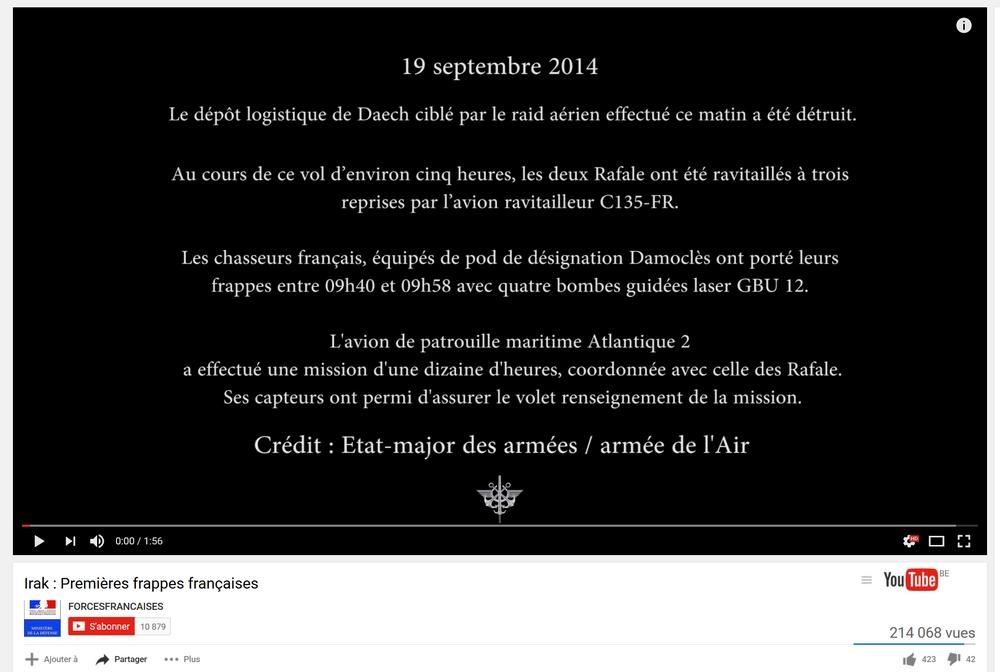 1ère frappe française contre Daech 19 09 2014